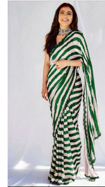 Green & White striped saree